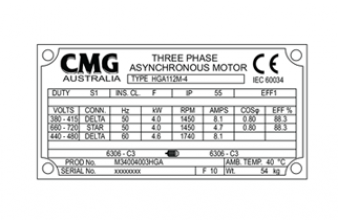 การอ่านแผ่นป้ายมอเตอร์ CMG (Name plate motor)